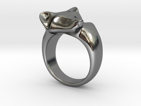 Fox Ring in Fine Detail Polished Silver: 5 / 49