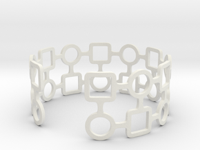 Circles & Squares Bracelet in White Strong & Flexible