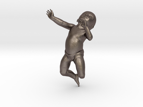 3D Crawling Baby in Polished Bronzed Silver Steel