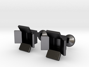 Box Cufflinks in Polished Grey Steel