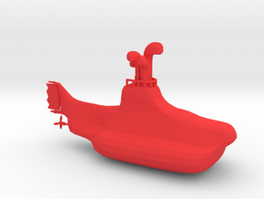 Yellow Submarine in Red Processed Versatile Plastic