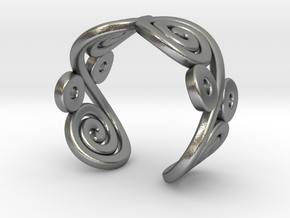 2 Spirals and ovals ring in Natural Silver