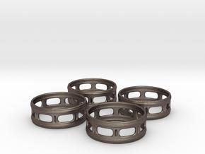 Windowed Napkin Rings (4) in Polished Bronzed Silver Steel