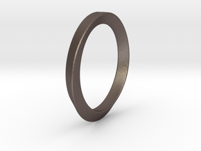 Moebius Triangle Ring in Polished Bronzed Silver Steel