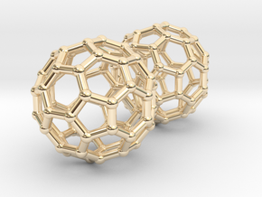Buckyball Chemistry Molecule Earrings in 14K Yellow Gold
