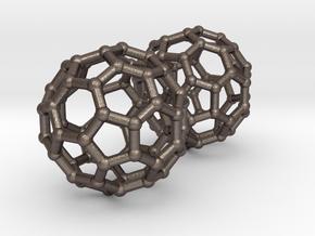 Buckyball Chemistry Molecule Earrings in Polished Bronzed Silver Steel