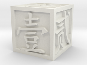 Dice with Number in Traditional Chinese in White Natural Versatile Plastic