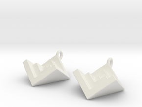 NestedCube Earring in White Strong & Flexible