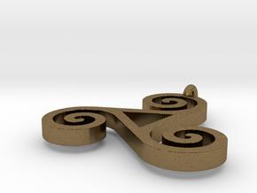 Triskele Pendant 1.5 Inch in Natural Bronze