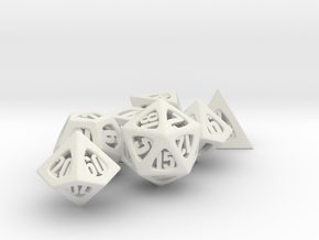 Thoroughly Modern Dice Set with Decader in White Natural Versatile Plastic