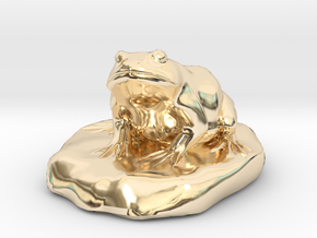 Bull Frog Statue in 14K Yellow Gold