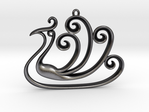 The Peacock Pendant in Polished and Bronzed Black Steel