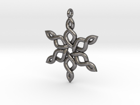 Snowflake Pendant 30mm in Polished Nickel Steel: Medium
