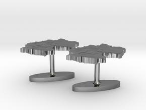 Germany Terrain Cufflink Pair - Flat in Polished Silver