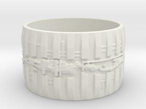 Bio Mech Ring #1, Ring Size 8.5 in White Natural Versatile Plastic
