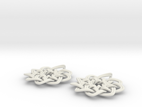 Woven Earrings in White Natural Versatile Plastic