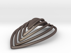 Katie's Leaf Earring in Polished Bronzed Silver Steel