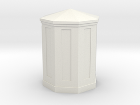 O scale (1/48) B&O Large Telephone Booth (octagona in White Natural Versatile Plastic