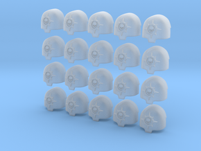 Compass Skull - 20, 28mm Large Shoulder Pads in Smooth Fine Detail Plastic