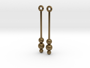 Three Orbs - Earrings - Silver or Brass in Natural Bronze