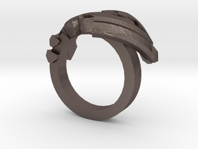 Avar Ring - us:11 3/8 fin:Ø21 in Polished Bronzed Silver Steel