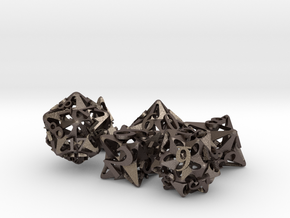 Pinwheel Dice Ornament Set in Polished Bronzed Silver Steel