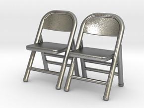 1:48 Miniature Pair of Folding Chairs in Natural Silver