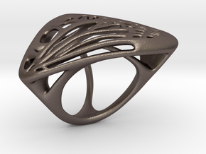 Butterfly Ring [ Size 7 ] in Polished Bronzed Silver Steel