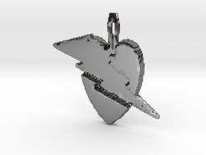 Lightening heart pendant in Fine Detail Polished Silver