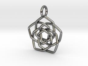 Discordian Mandala Pendant in Polished Silver