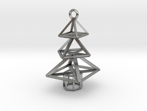 Modern Christmas Tree Earrings in Natural Silver