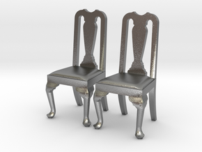 Pair of 1:48 Queen Anne Chairs in Natural Silver