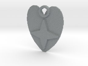 Star heart pendant in Polished Metallic Plastic
