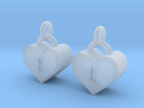 Heartlock Earrings in Smooth Fine Detail Plastic