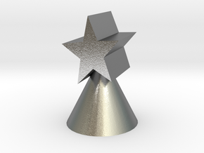 Xmas star ornament for small trees in Natural Silver