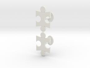 Jigsaw Cufflinks Set in White Natural Versatile Plastic