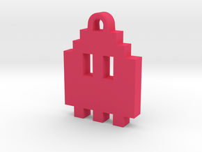 Pac Man Ghost 8-bit Earring 1 (looks up) in Pink Processed Versatile Plastic