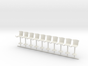 S Scale Bar Stools version C X10 in White Strong & Flexible