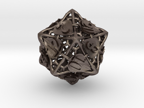 Botanical d20 Ornament in Polished Bronzed Silver Steel