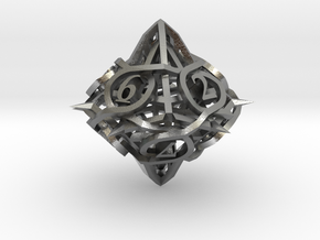Thorn d10 Ornament in Natural Silver