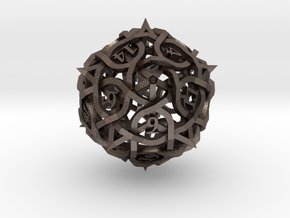 Thorn d20 Ornament in Polished Bronzed Silver Steel