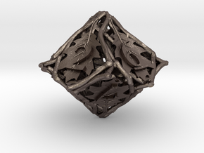 Botanical d10 Ornament in Polished Bronzed Silver Steel