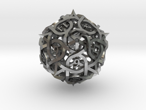 Thorn d20 Ornament in Natural Silver