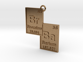 """Br/Ba"" Bromine and Barium Periodic Table Pendant in Natural Brass"