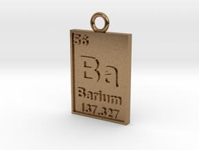 Barium Periodic Table Pendant in Natural Brass