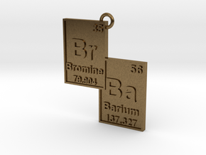 """Br/Ba"" Bromine and Barium Periodic Table Pendant in Natural Bronze"