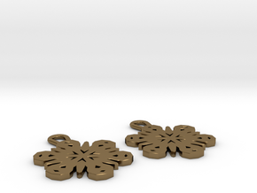 Small Snowflake Earrings in Polished Bronze