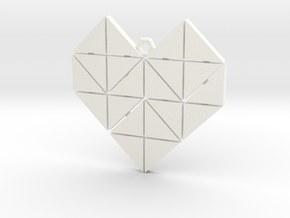 Geometric Heart Pendant in White Processed Versatile Plastic