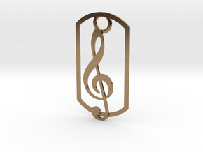 Treble clef dog tag in Natural Brass