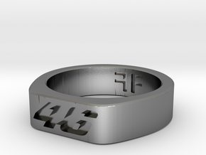 Valentino Rossi - 46 - MotoGP indented ring (20mm) in Polished Silver